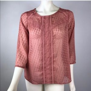 LC Lauren Conrad | Dusty Rose Button Down Back Top